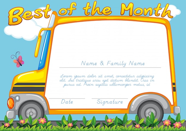 Certificate design with school bus background