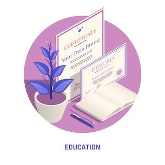 Certificate and diploma education isometric illustration