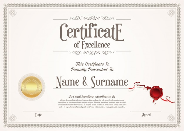 Certificate or diploma of excellence retro vintage design