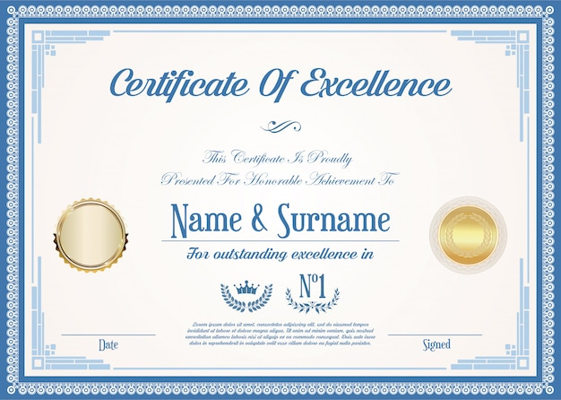 Certificate or diploma of excellence retro vintage