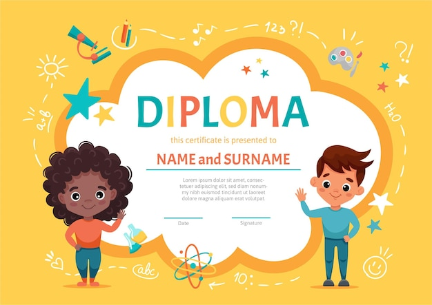Certificate diploma for kids or children in kindergarten or elementary preschool with a cute black girl with curly dark hair waving together with her friend, a cute boy.  cartoon illustration