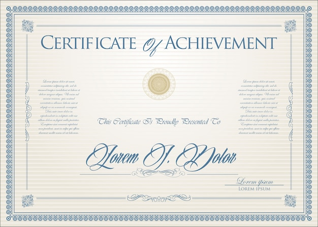 Certificate or diploma retro design