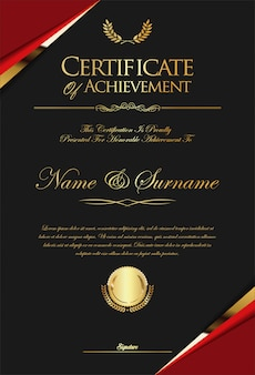 Certificate or diploma retro template