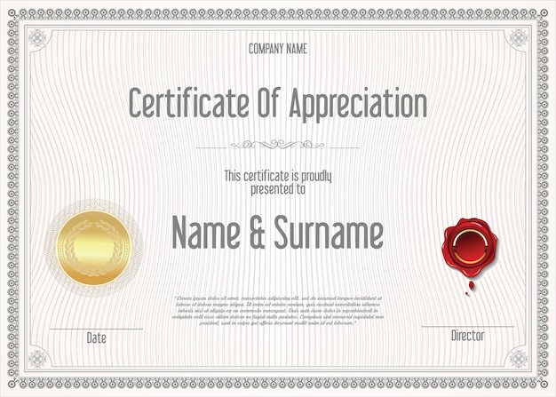 Certificate or diploma  retro vintage template