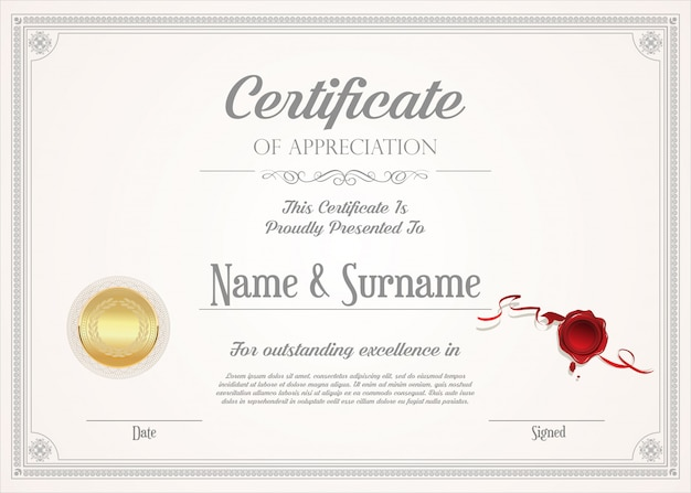 Certificate or diploma retro