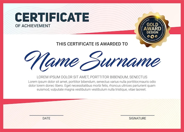 Certificate or diploma template with luxury line pattern and gold award emblem