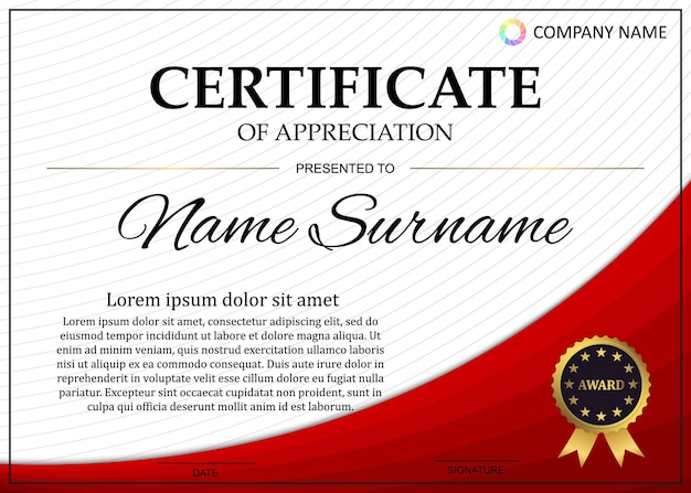 Certificate or diploma template with luxury pattern