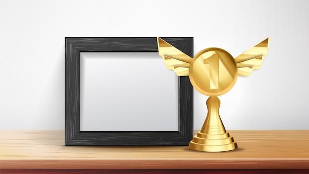 Сертификат диплом с золотым кубком Premium векторы