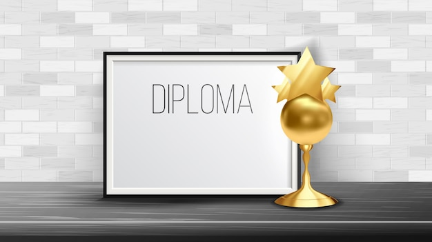 Certificate diploma with golden cup
