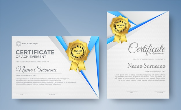 Certificate of elegance in modern blue