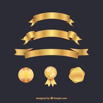 Коллекция элементов сертификата золотого цвета