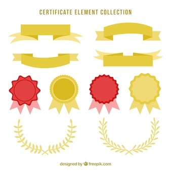 Certificate elements collection in golden color
