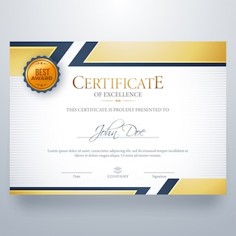 Certificate of excellence with best award symbol.