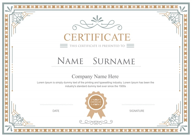 Certificate flourishes elegant vector vintage template