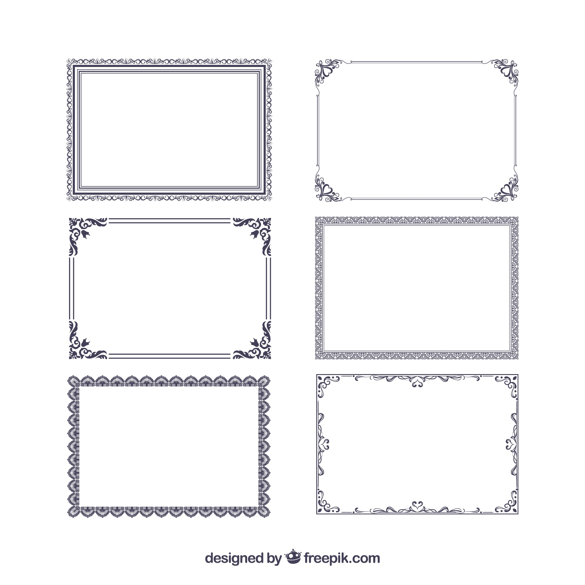 Certificate frames collection with ornaments
