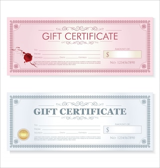 Certificate gift coupon template retro vintage design
