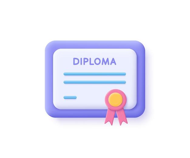 証明書アイコン。達成、賞、助成金、卒業証書の概念。 3dイラスト。