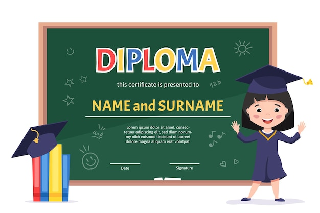 Certificate kids diploma kindergarten template layout background with a cute asian girl celebrating preschool graduation