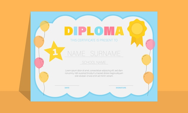 Certificate for kids with colourful balloons, kindergarten graduation certificates background