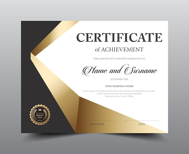 Certificate layout template design.