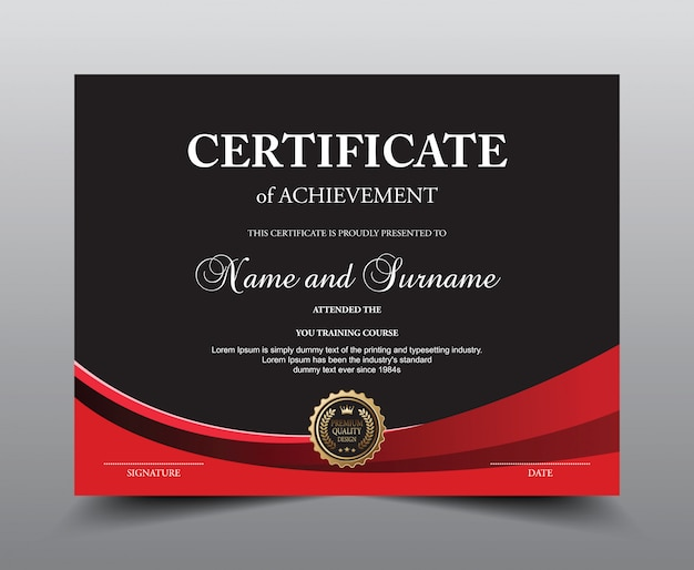 Certificate layout template.