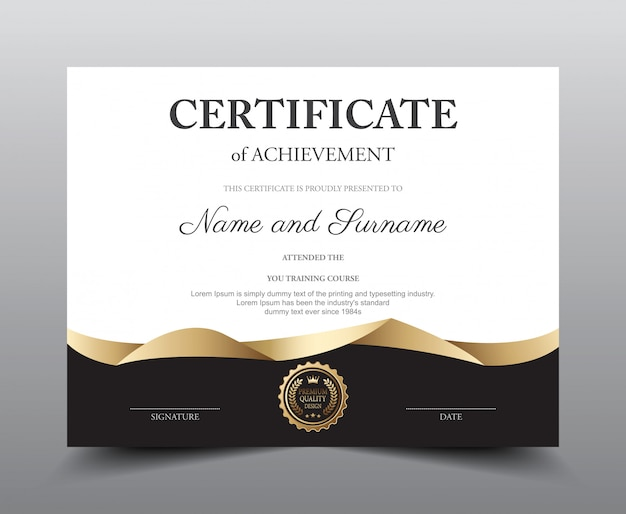 Certificate layout template