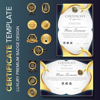 Certificate modern design template background with badge