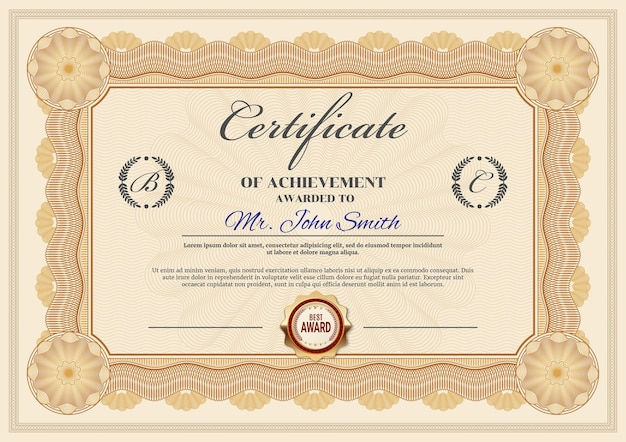 達成証明書テンプレート、卒業証書の境界線の華やかなデザイン。公式の賞のフレーム、受賞者の感謝または卒業のための紙の文書、金色のスタンプ、名前と名前の場所