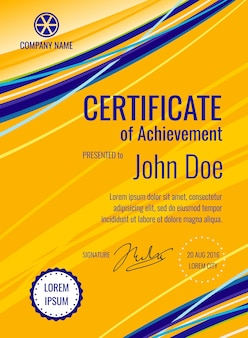 Certificate of achievement template diploma vector layout. Document typography with company name ill