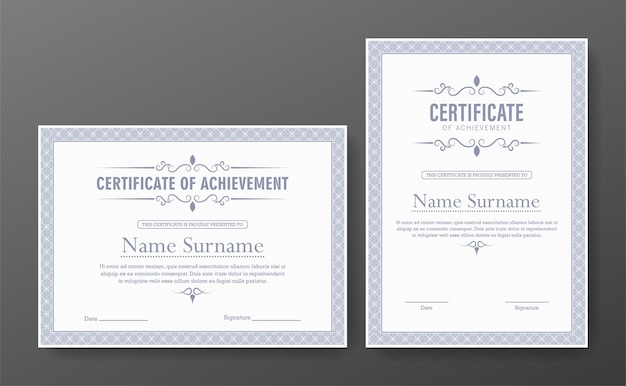 Сертификат достижения с классической рамкой