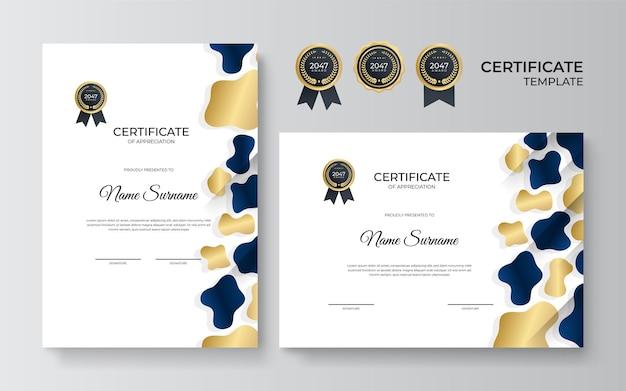青と金色の感謝状のデザインテンプレート。トレーニング卒業またはコース修了のための豪華なビジネス卒業証書のレイアウト。ベクトルの背景図