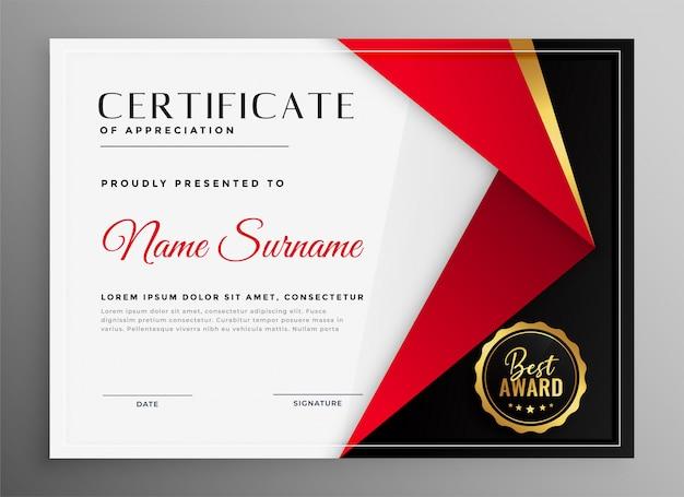 Сертификат признательности роскошной красной темы оформления шаблона