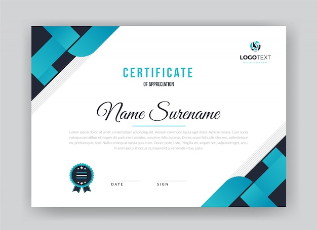 Сертификат благодарности шаблона. шаблон креативного диплома
