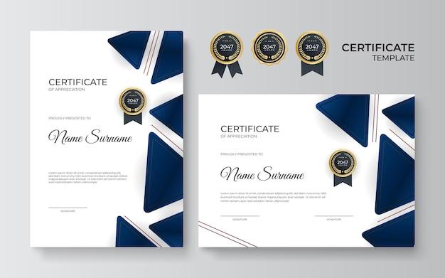Сертификат благодарности шаблон, золото и синий цвет. чистый современный сертификат с золотым значком. шаблон границы сертификата с роскошным и современным рисунком линии. векторный шаблон диплома