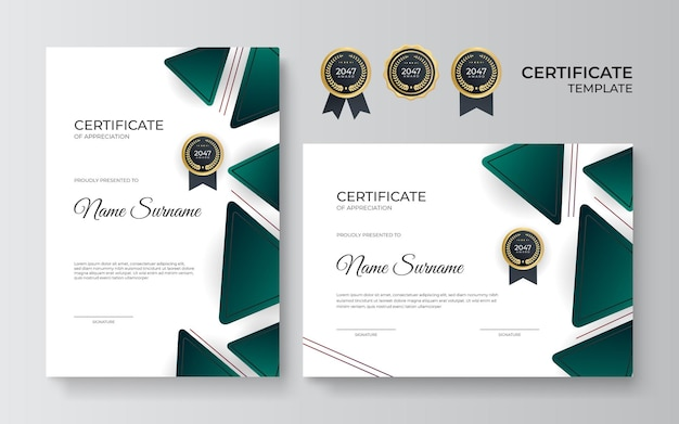 感謝状のテンプレート、ゴールドとグリーンの色。ゴールドのバッジでモダンな証明書をきれいにします。豪華でモダンなラインパターンの証明書ボーダーテンプレート。卒業証書のベクトルテンプレート