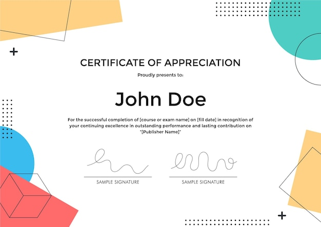 Сертификат благодарности шаблон с абстрактным геометрическим дизайном в стиле мемфис