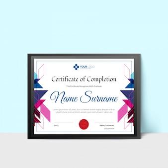 Сертификат о завершении с символом награждения печатью.