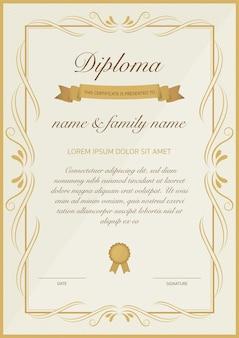 Сертификат диплома с золотым цветочным дизайном. Premium векторы