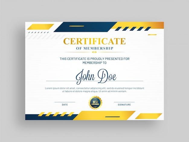 青と黄金のデザインとバッジを持つメンバーシップテンプレートの証明書。