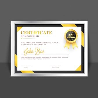 黄色と黄金の抽象とバッジを持つメンバーシップテンプレートの証明書。