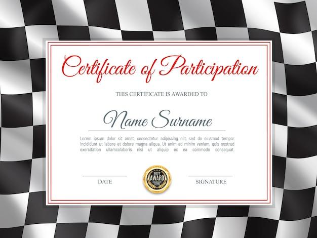 参加証明書、黒と白の市松模様のラリーフラグ付きの卒業証書テンプレート。レース優勝者賞のボーダーデザイン、最高の結果を達成するためのレース勝利成功祝賀ディプロマ