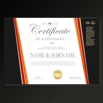 Сертификат или диплом ретро-дизайн шаблона на черном фоне