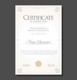 인증서 또는 졸업장 복고풍 빈티지 디자인