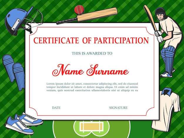 Certificate of participation in baseball tournament