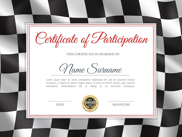Certificate of participation, diploma template with black and white chequered rally flag. race winner award border design, racing victory success celebration diploma for best result achievement