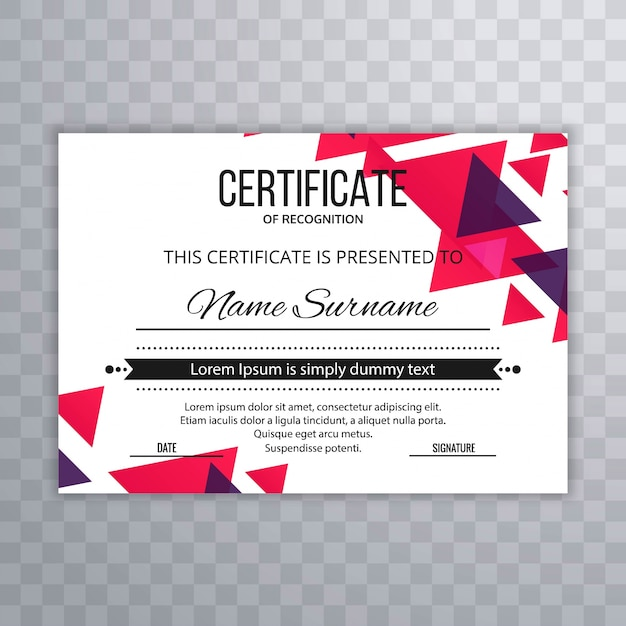 Certificate premium template awards diploma colorful vector illustration