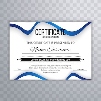 Certificate premium template awards diploma with wave illustration design