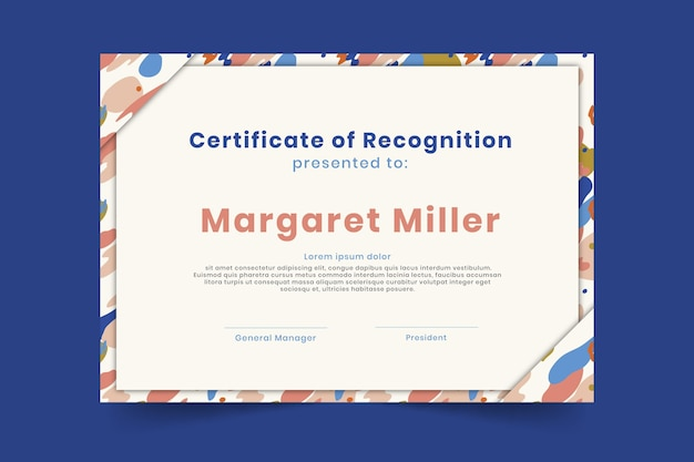 Certificate of recognition diploma template