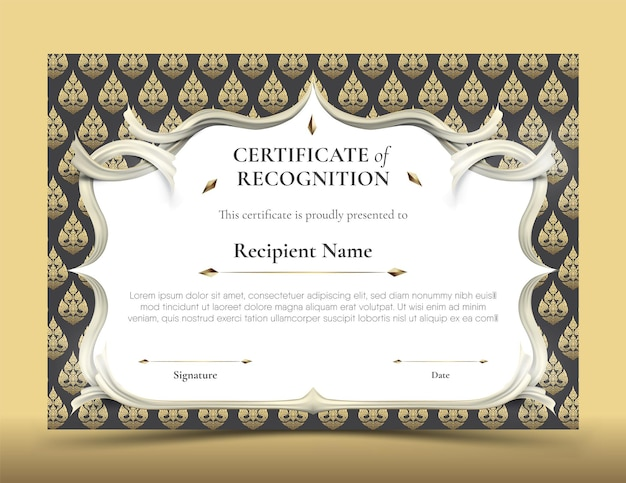 Certificate of recognition template. abstract white frame plus white smooth rip curl edges on black and gold