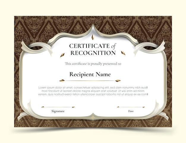 Certificate of recognition template abstract white frame plus white smooth rip curl edges on dark brown tradition thai pattern